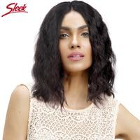 Sleek Short Lace Front Human Hair Wigs For Black Women Glueless Remy Brazilian Wavy Hair Half Bob Wig Perruque Cheveux Humain