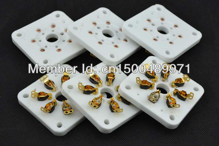 2*ceramic GOLD chassis mount big 7pin vacuum tube sockets for 6C33/FU29/829B