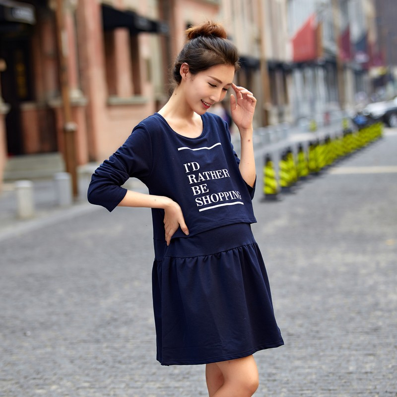 2016 Cotton Rushed The Latest Version Of Pregnant Woman Dress Long-sleeved Lactation Letters Women Breastfeeding Long Sleeve
