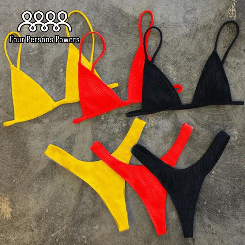 Четыре полномочия лица купальники женщин сексуальный полосы бикини установить Бразильский стринги сплошной цвет Женский ZH02
