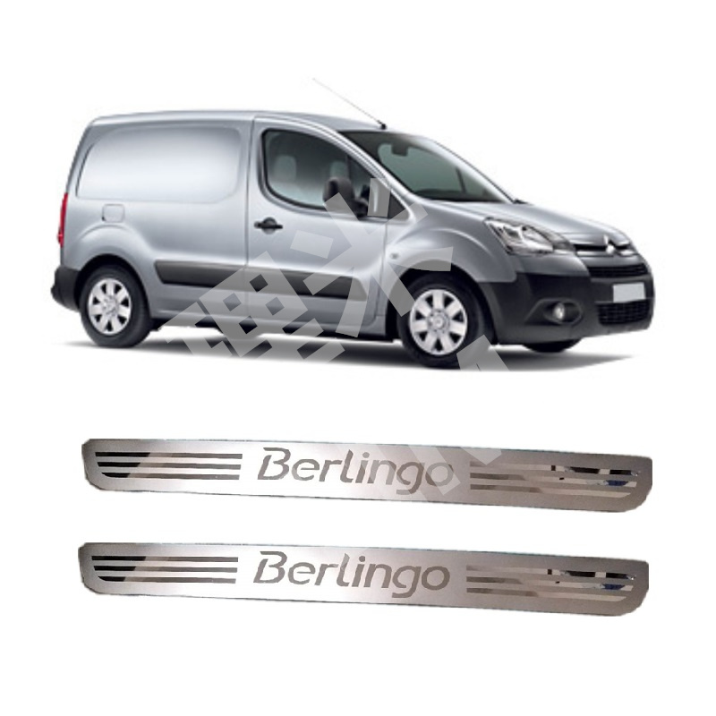 Suitable for Citroen Berlingo MK2 2008 Onwards 2 Pcs Front Door Stainless Steel Scuff Plate Door Sill Cover Trim Car Accessories for led stainless steel door sill scuff plate for volkswagen vw jetta mk6 2011 2013 car accessories car styling for