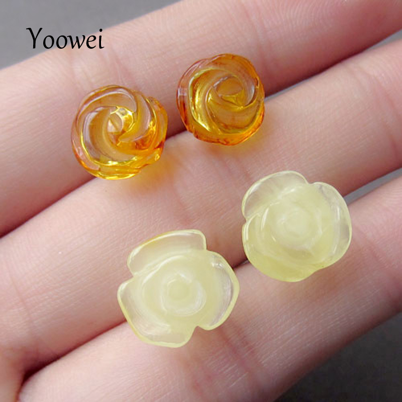 Yoowei Rose Flower Amber Earrings for Women Girl Chic Romantic Stud Earrings Trendy Style Baltic Natural Amber Jewelry Wholesale цена