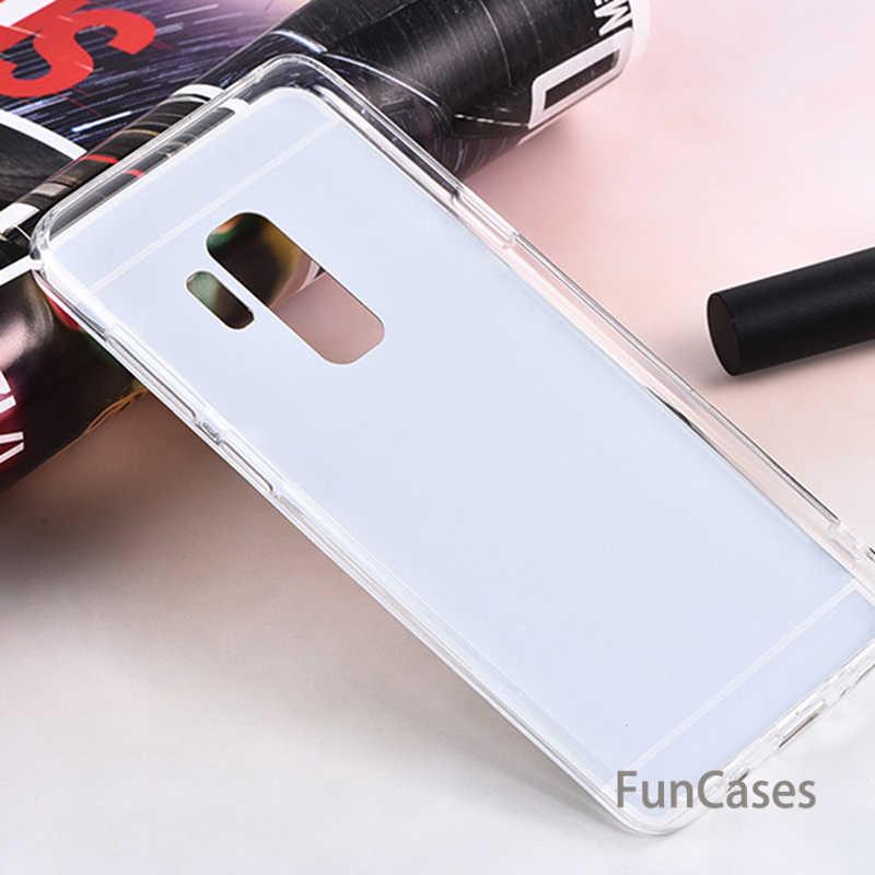 Miękkiego silikonu TPU etui lustrzane na telefon dla Samsung Galaxy A6 A8 S9 S8 Plus J4 J6 2018 J3 J5 J7 A3 A5 A7 2016 2017 S7 krawędzi pokrywy skrzynka