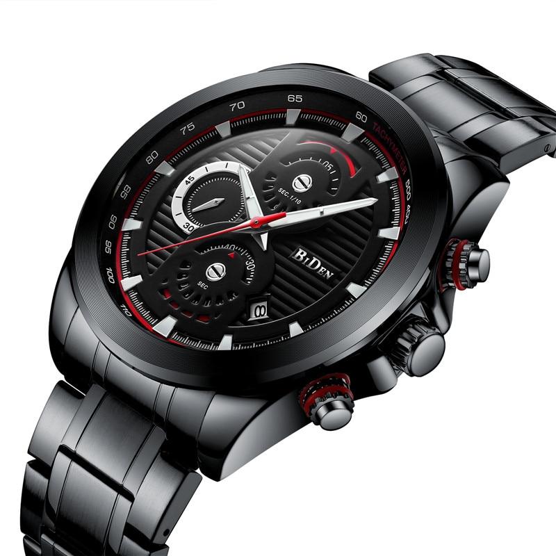BIDEN Mens Watches Waterproof Chronograph Sport Military Top Brand Luxury Men Watch Stainless Steel Quartz Male Clock Gift 0084