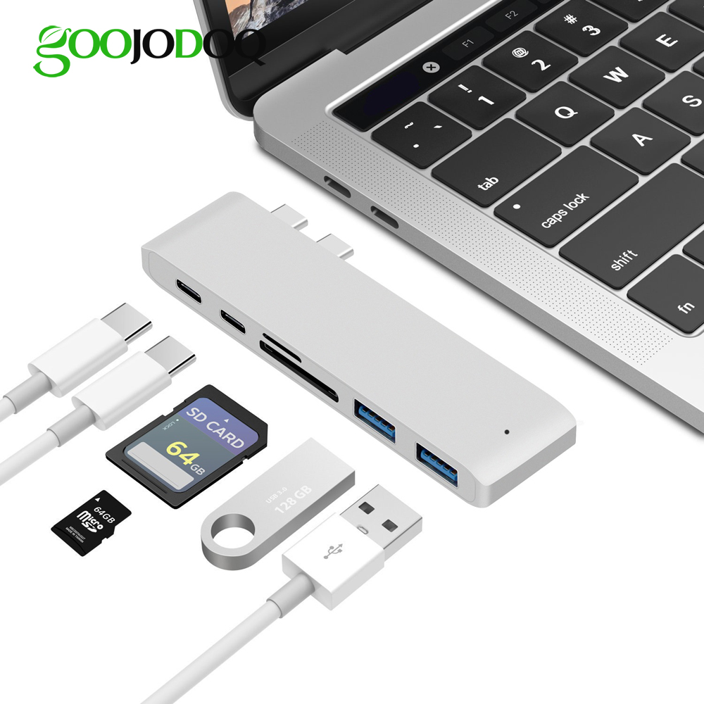 6 IN 1 USB C Hub Type C Hub SD/Micro SD Card Reader Type-C to USB3.0 with USB-C Charger PD for MacBook Pro 13