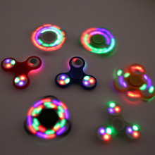 Tri-Spinner Fidget Spinne Toy LED Light Plastic EDC Hand Spinner For Autism and ADHD Anxiety Stress Relief Focus Toys Kids Gift