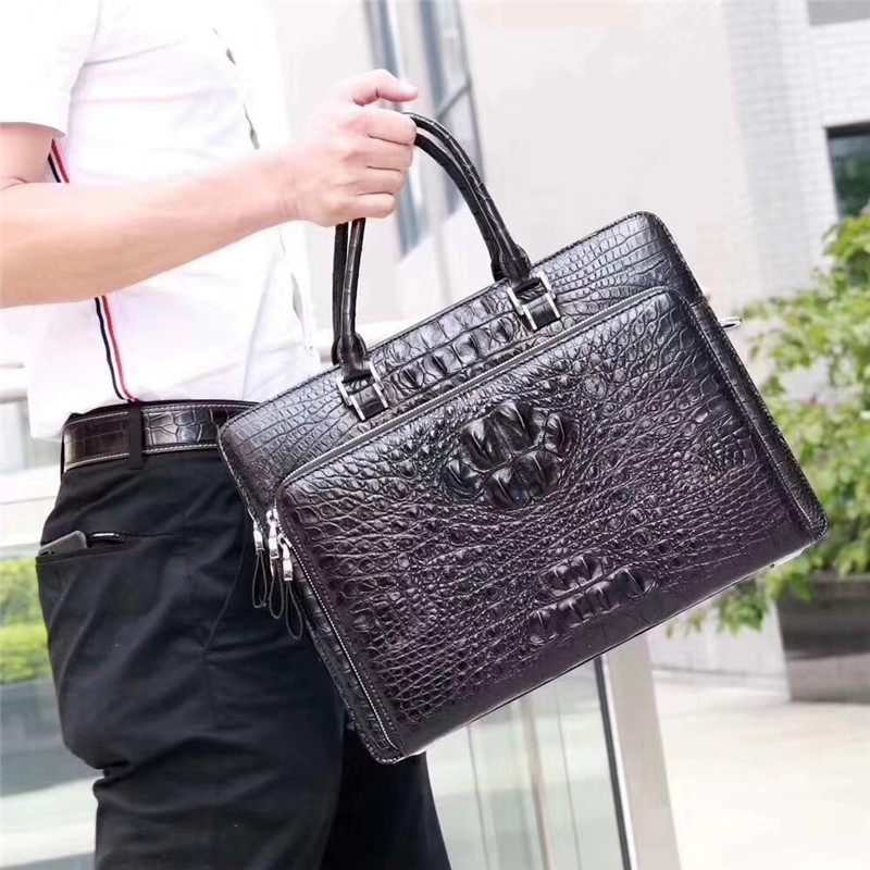 100% Genuine Alligator Leather Zipper Closure Businessmen Large Briefcase Handbag Exotic Crocodile Skin Male Documents Package