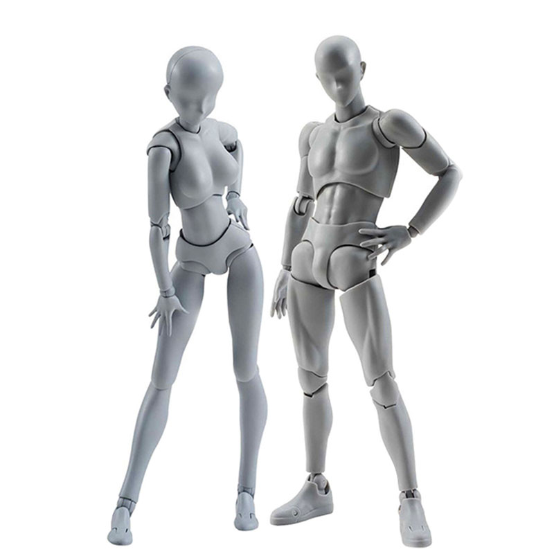 1Pcs Artist Movable Limbs Male Female Toy PVC Art Mini Joint Body Model Mannequin bjd Sketch Draw Action Figures Toys Collection new 2pcs female right left vivid foot mannequin jewerly display model art sketch