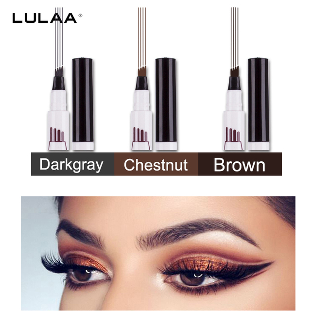 Hot Selling 3 Colors Liquid Tattoo Eyebrow Pencil with Four Tips Long-Lasting Waterproof Microblading Tattoo Eyes Pen Makeup 1
