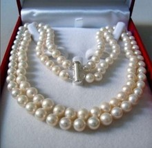 Women Gift Freshwater Jewelry Genuine Natural 2 Rows 8-9MM WHITE AKOYA SALTWATER PEARL NECKLACE 17-18