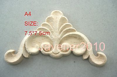 A4-7.5x7.5cm Wood Carved Corner Onlay Applique Unpainted Frame Door Decal Working Carpenter Flower