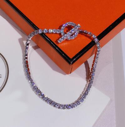 Personality simple micro-encrusted Rhinestone circle bracelet S925 sterling silver fashion ladies silver jewelryPersonality simple micro-encrusted Rhinestone circle bracelet S925 sterling silver fashion ladies silver jewelry