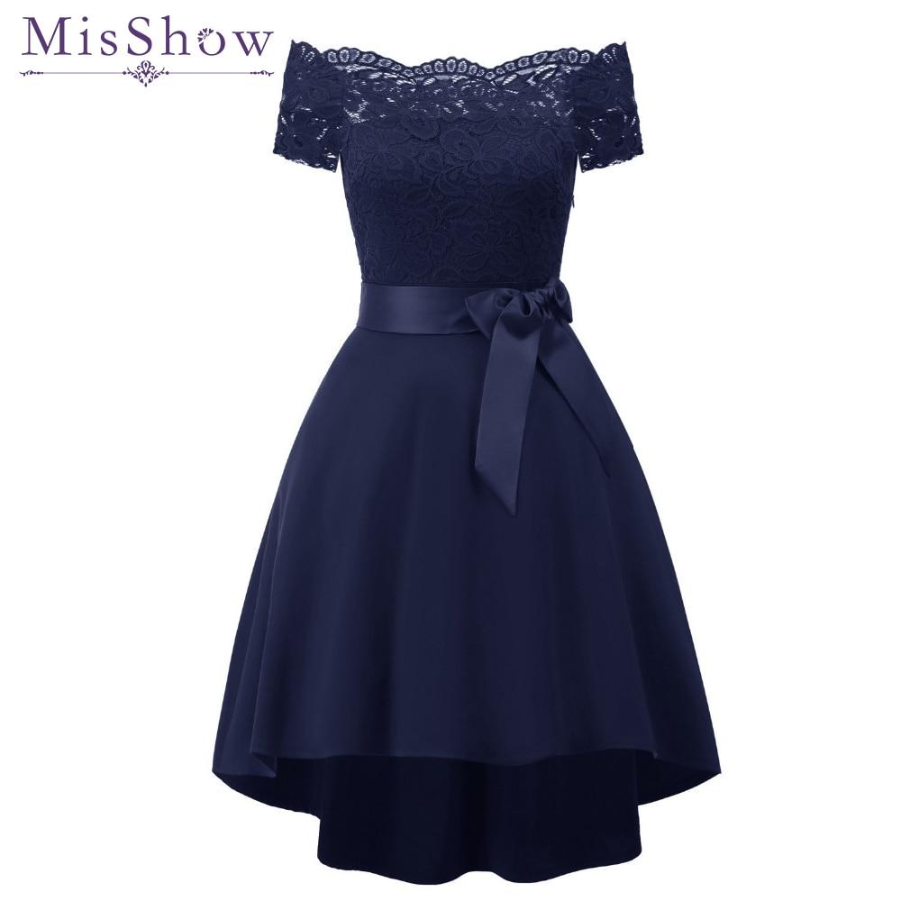 New Short Evening Dress 2019 Off Shoulder Lace Satin Dresses Formal Party Dress Vestido De Festa Navy Blue Burgundy Prom Dresses