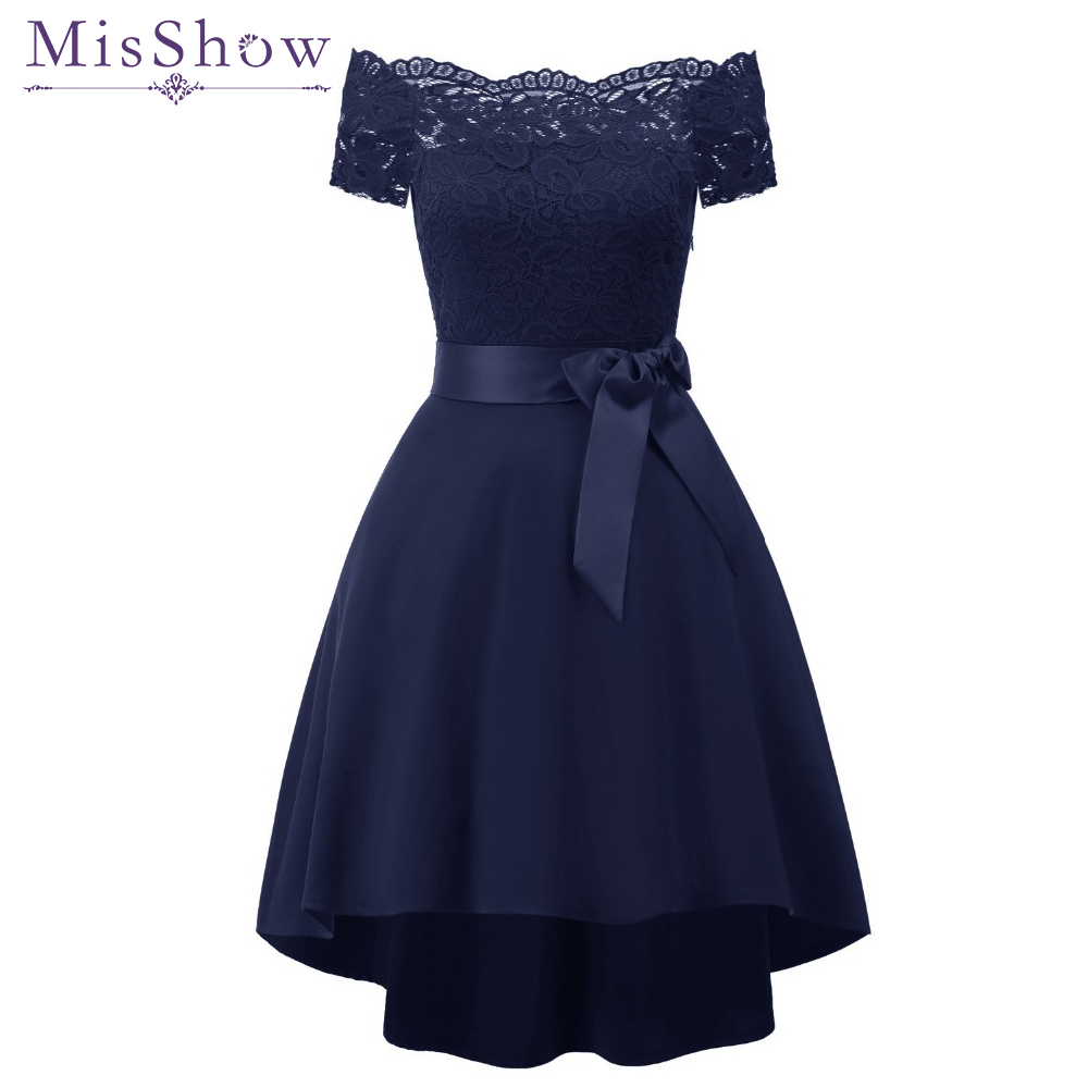 New short   evening     dress   2019 off shoulder lace satin   Dresses   Formal Party   Dress   Vestido De Festa navy blue burgundy prom   dresses