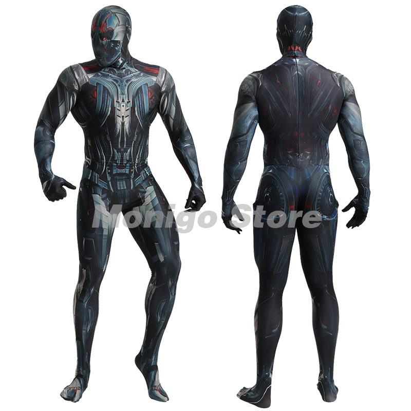 The Avengers Ultron Cosplay Zentai Mechanical Jumpsuits Adults One Piece Halloween Event Costume Suit Unisex Bodysuit