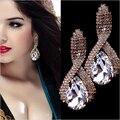 Luxo Criado Diamante Espiral de Ouro Gota de Água de Cristal Brincos Pendurados Para As Mulheres Big Rhinestone Pendientes Jóias Italina
