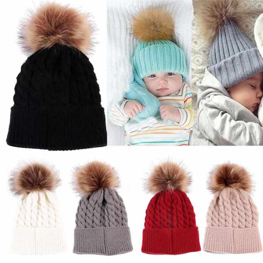 2dcc0a3c139 ... Winter Newborn Cute Fashion Baby Kids Girl Boy Twist hair ball Warmer  Crochet Hat Cap Soft ...