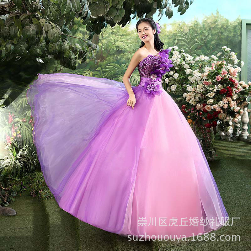 2019 New Style 2019 Flower One Shoulder Sweep Train Quinceanera Dresses Applique Pageant Ball Gown Wedding 2017 Photog Raphic Studio Weddings & Events