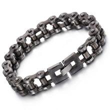 030b79d473b3 La tendencia de la moda de los hombres pulsera de cadena de Retro negro de  plata