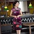 Бесплатная Доставка С Коротким Рукавом Традиционный Китайский Платье Традиционной Одежды Цветочные Cheongsam Бархат Qipao Платья Фиолетовый