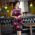 Free Shipping Short Sleeve Traditional Chinese Dress Women's Traditional Clothing Floral Cheongsam Velvet Qipao Dresses Purple