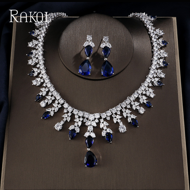 Jewelry & Accessories New Nice Plated Bijoux Fashion Blue Red Crystal For Women Bridal Accessories Wedding Party Jewelry Set