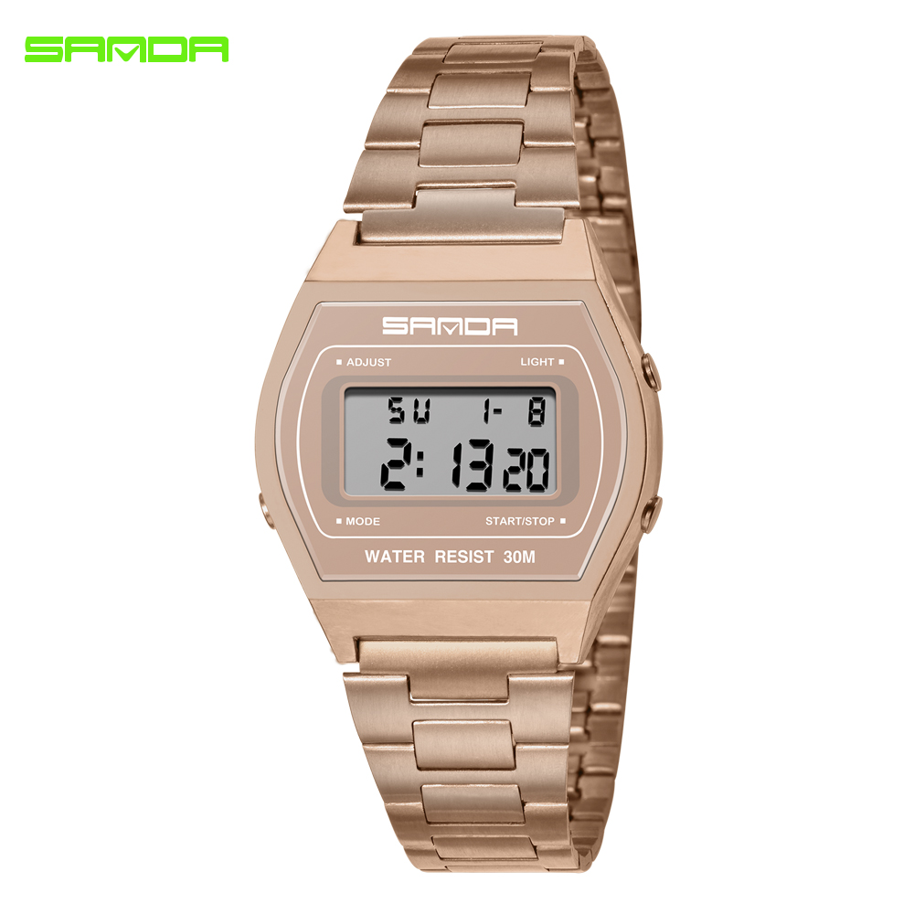 SANDA Luxury Brand Sport Watch Women LED Digital Ladies Watches Rose Gold Stainless Steel Bracelet Waterproof Clock Montre Femme