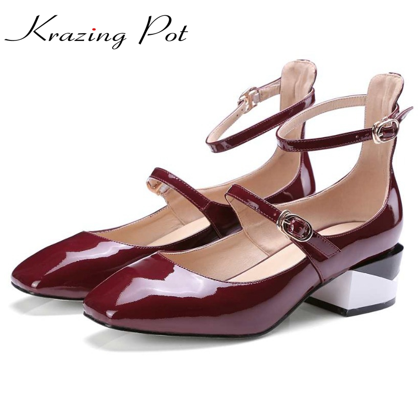 Подробнее о Krazing Pot new fashion brand shoes patent leather square toe preppy style low heel sweet buckle women pumps mary jane shoes L90 krazing pot new fashion brand gold shoes patent leather square toe preppy style med heels buckle women pumps mary jane shoes 90