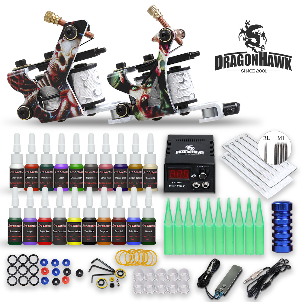 Complete Beginner Tattoo Kit 20 Color Inks Mini Tattoo Power Supply Cheap Tattoo Kit Set Grips Needles Tips Supplies-in Tattoo Kits from Beauty & Health on Aliexpress.com | Alibaba Group