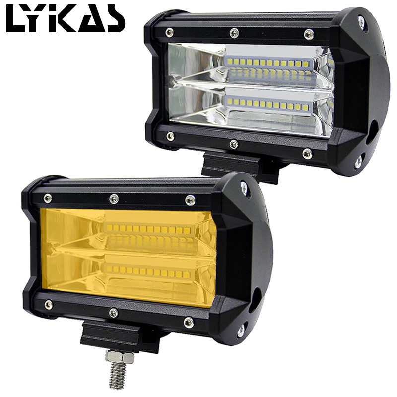 LYKAS 5 Inch 72W 3000K 6000K Offroad Led Work Light Bar Led Fog Lights for Trucks SUV ATV 4x4 4D Flood Beam