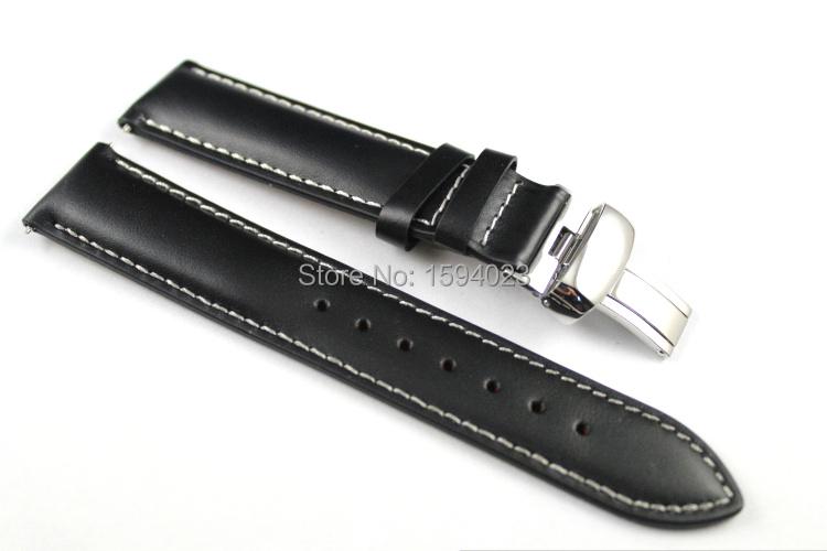 Prix pour 19mm (Buckle18mm) PRC200 T014410 T461 T41 Haute Qualité Argent Papillon Boucle + Noir En Cuir Véritable Bracelets Montres sangle
