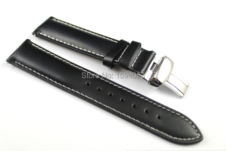 19mm (Buckle18mm) PRC200 T014410 T461 T41 High Quality Silver Butterfly Buckle + Black Genuine Leather Watch Bands Strap 20mm prs516 t91 t044430a high quality silver butterfly buckle black brown genuine leather watch bands strap