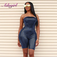 Sexy Slash Neck Jumpsuit Women Bling Bling Spaghetti Strap Night Club Party Bandage Costumes Overall Playsuit
