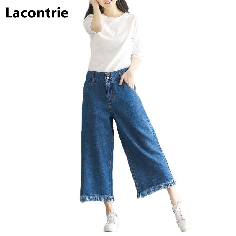 Lacontrie 2017 New Spring Women Denim Pants Jeans Fashion Plus Size Loose Casual Wide Leg Pants 7 Point Denim Pant Trousers T152 plus size pants the spring new jeans pants suspenders ladies denim trousers elastic braces bib overalls for women dungarees