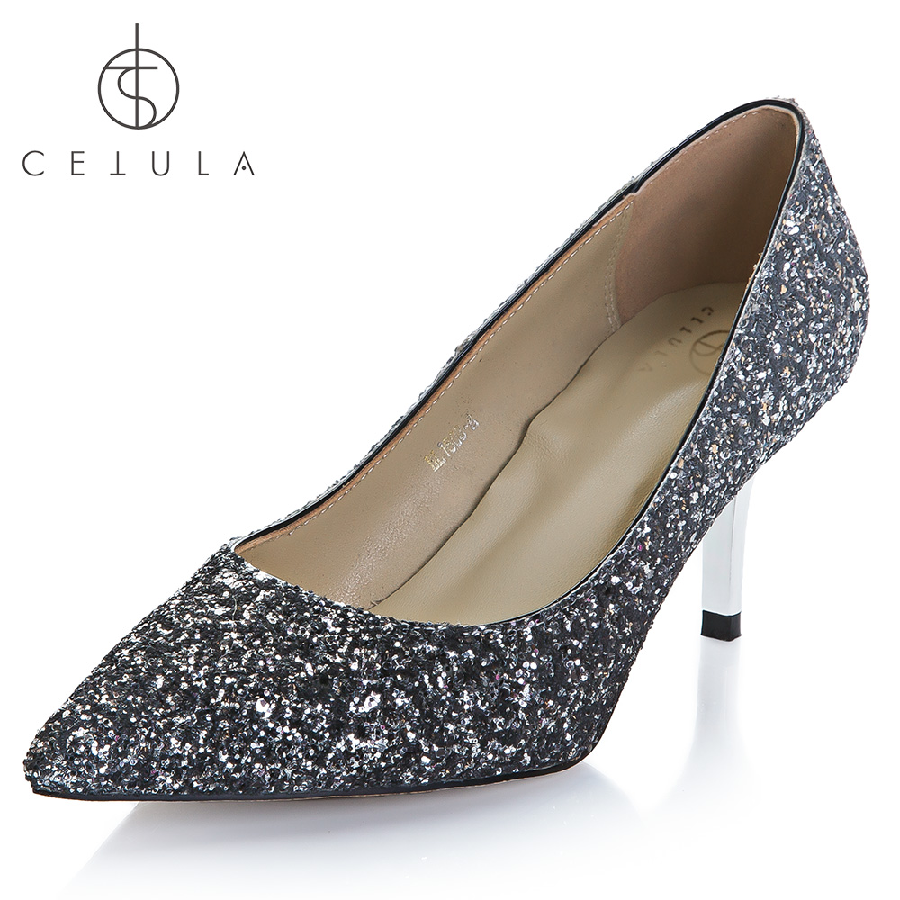 0bdc70b94b8 Cetula 2018 Handcrafted GOLD Metal Kitten Heel Silver-Grey Glitter  WEDDING BANQUET PARTY EVENING COCKTAIL Female Slip-on Shoes