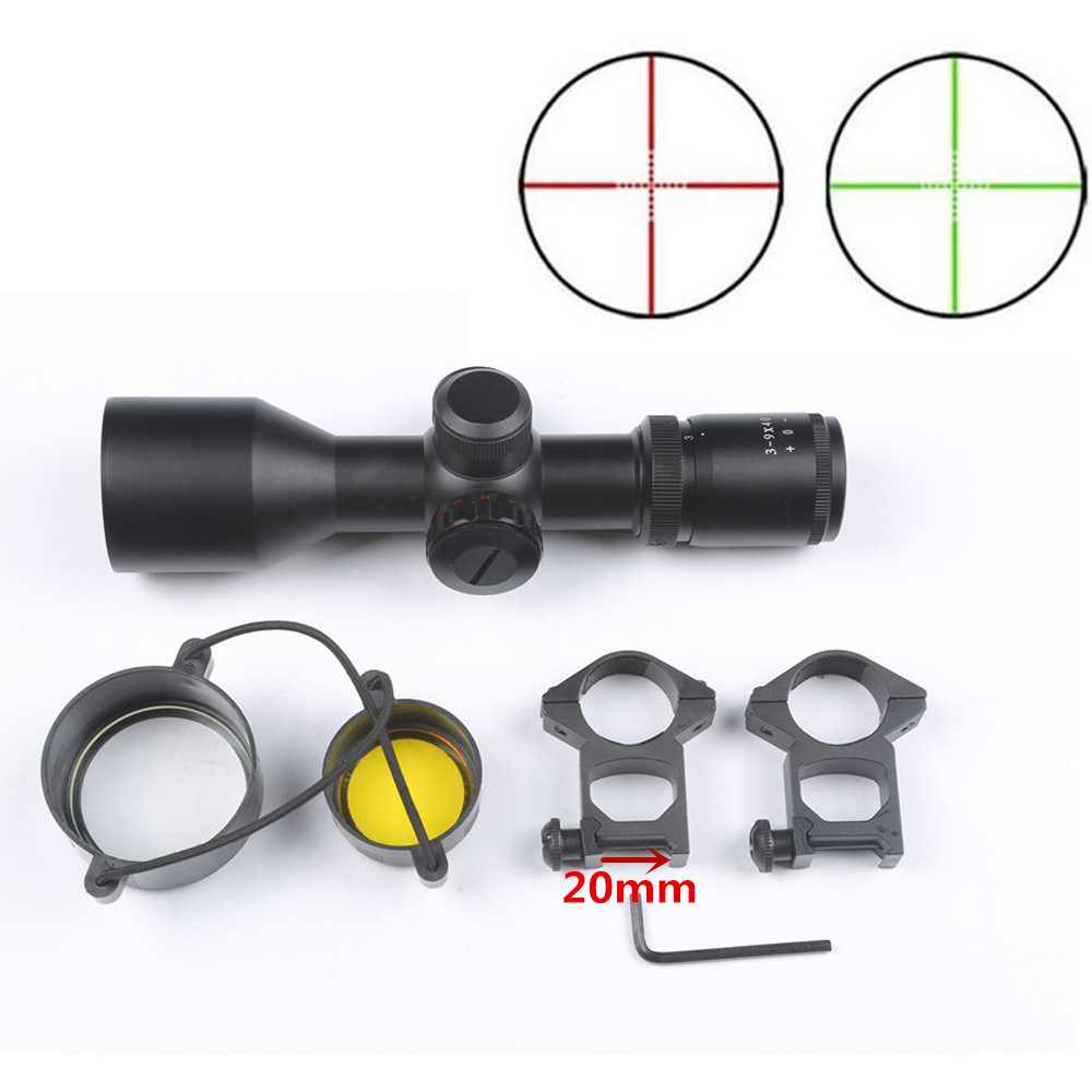Tactical 3-9x40 V Riflescope Red/Green Dot Mil-dot Dual illuminated Laser Sight Scope outdoor reticle sight Hunting Rifle