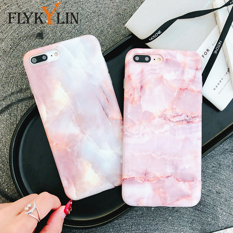 Galleria fotografica FLYKYLIN Cute Marble Phone Case For iphone X Case For iphone 6S 6 7 8 Plus Cover Soft Silicone IMD Cases Pink Girly Granite Capa