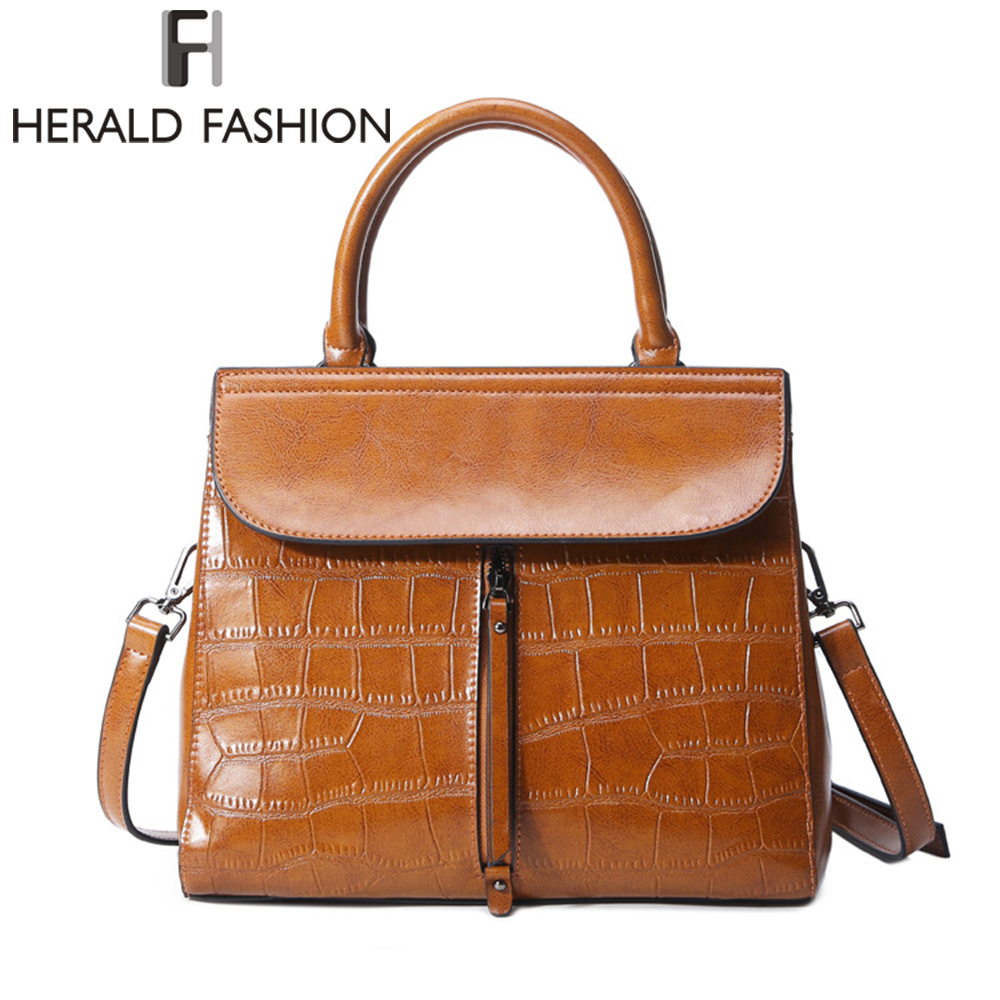 купить Herald Fashion Genuine Leather Handbag High Quality Cow Leather Women Bag Solid Shoulder Bags Large Capacity Crossbody bag по цене 2256.84 рублей