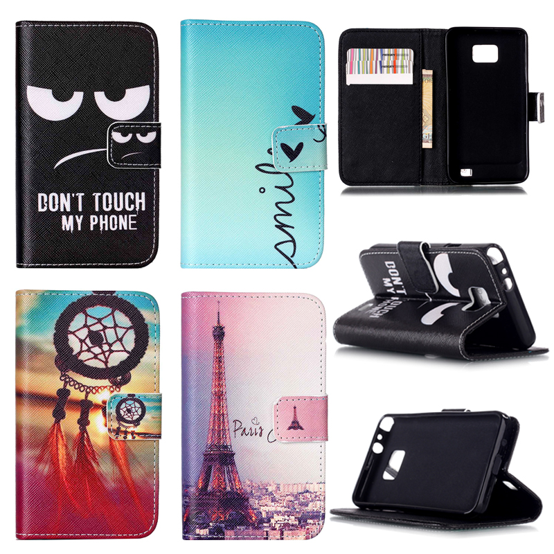 Customized! New Fashion Leather Case For Samsung Galaxy S2 SII i9100 9100 S2 Plus i9105 Stand Cover with wallet and card holder
