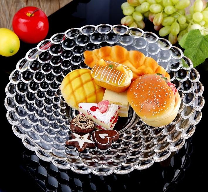 Plateau à gâteau rond en verre de 12 ''  Perles de secours, plateau de fruits décoratif, organisateur de bonbons, plateau de salon, vaisselle, verrerie de cuisine - 3