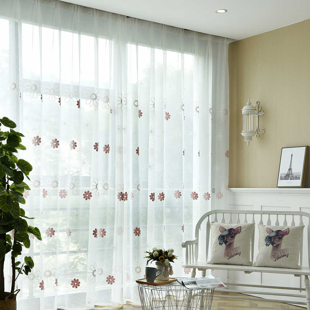 Blue Floral Embroidered Living Room Sheer Voile Curtains Pink Flower White Window Panel Curtain Tulle Bedroom French Door TM0103