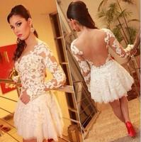 Sexy Hollow Out Perspective Lace Stitching Ball Gown Nightclub Party Dress Female Slim Long Sleeve Dress