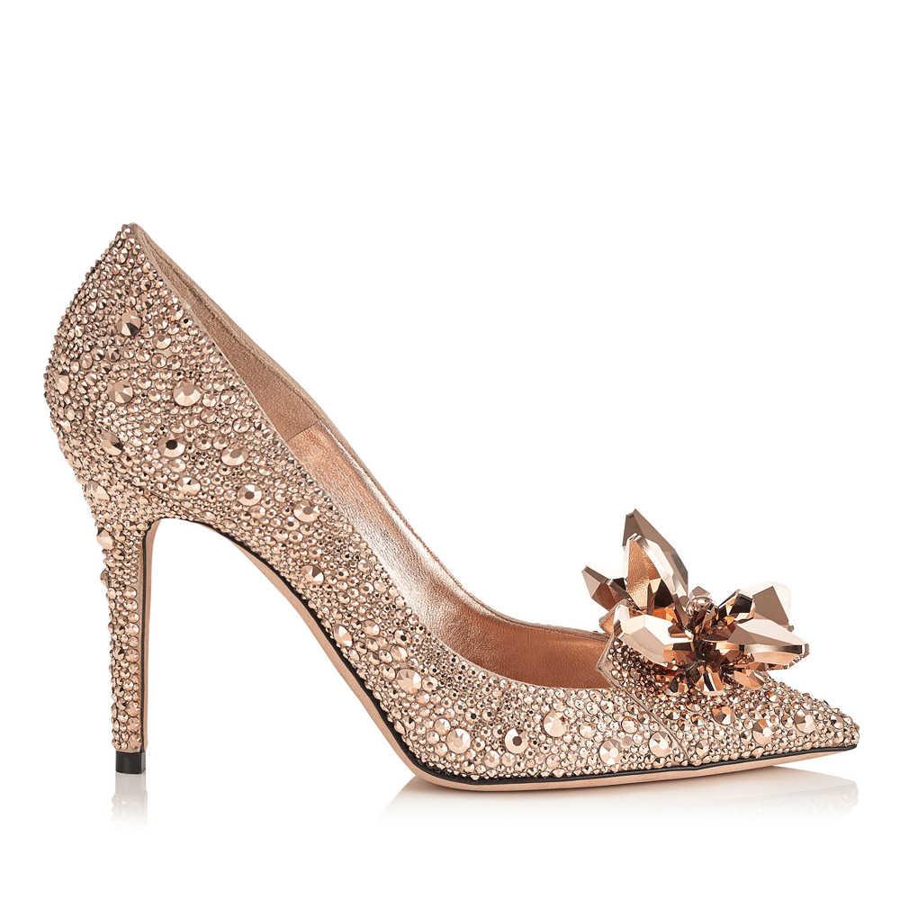 f2202f171 Rose Gold Crystal Covered Pointy Toe Women Pumps Luxury Designer Rhinestone High  Heels Wedding Shoes Cinderella