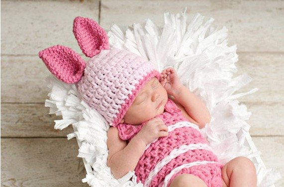Free shipping,Baby Crochet Pink Rabbit Beanie Hats+ Jumpsuits Costume Set Newborn Photography Props