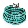 2014 6mm blue turquoise bead wrap bracelet new design handmade charm leather bracelet 5 rows wrap wristband free shipping F2503