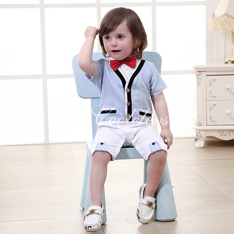 New baby soft cotton fake vest red dot bow rompers boys party clothes fashion infant jumpers summer gentleman clothing 17S907