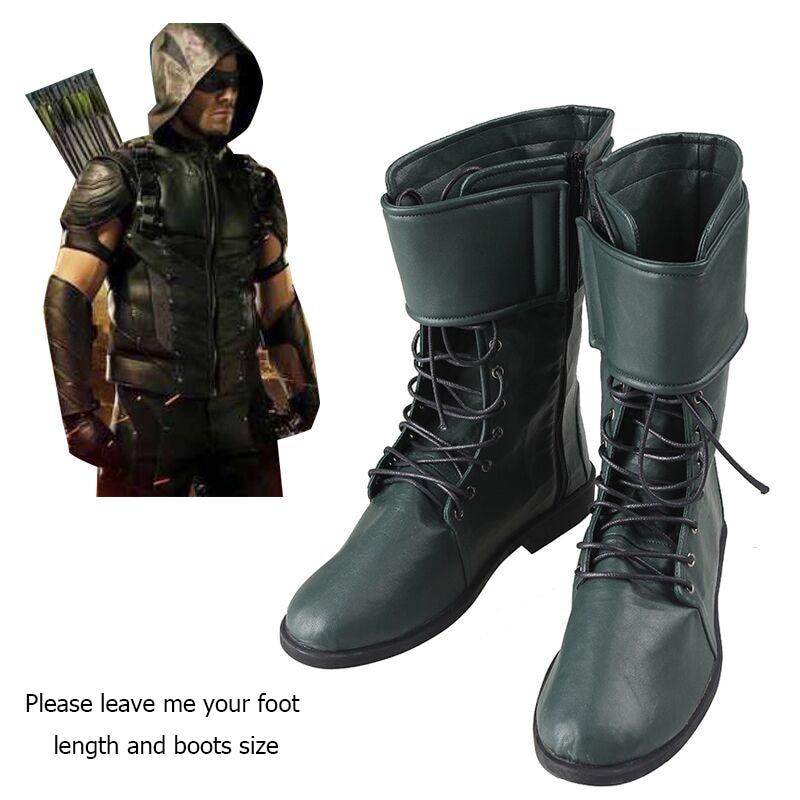US $48.44 15% di SCONTO Green Arrow Oliver Queen Cosplay Stivali Green Arrow Stagione 4 Superhero Scarpe Su misura Uomini Adulti Cosplay Battle Boots