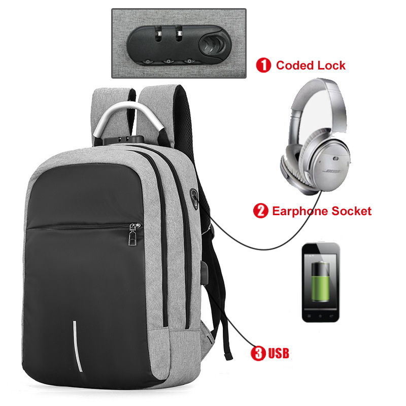 цена на 16 Inch Laptop Backpack USB Charging Anti Theft Backpack Men Travel Backpack Waterproof School Bag Male Mochila Password Lock