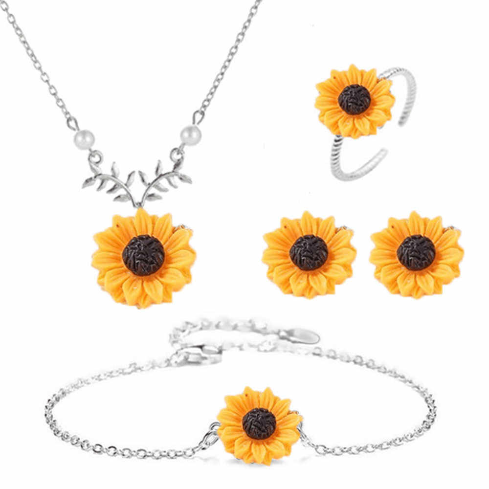 Fashion creative sunflower sun flower rose gold, gold, silver necklace