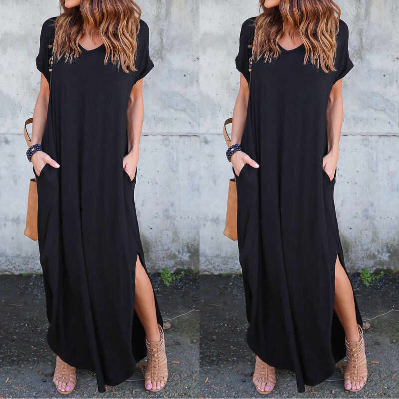 Women Summer Clothes Short Sleeve Maxi Loose Casual Dress Split Evening Party Round Neck Solid Pullover Cotton Blend Plus Size